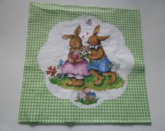 x 1 napkin a couple of rabbit lovers 33 33 cm