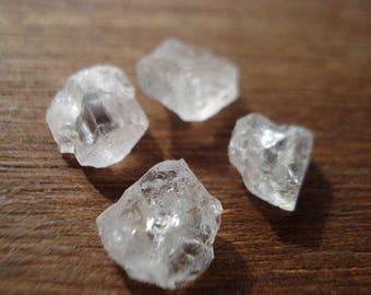 Raw Rough Diamonds Topaz - 4 Raw Bottom Flat Gems - Genuine Raw White Topaz MG910