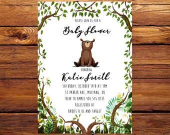 Bear Baby Shower Invitation, Baby Shower Invitation, Bear Invitation