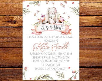 Bunny Baby Shower Invitation, Girl Baby Shower Invite, Baby Shower  Invitation