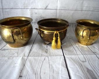 Mid Century Modern Hammered Brass Planter Set of 3