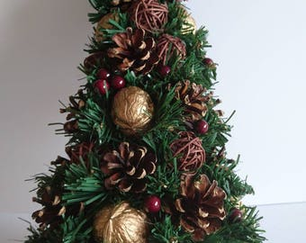 Christmas Tree, Topiary, Centerpiece, Real Pine Cones,  Wooden Decor, Christmas Decorations, Christmas Home Decor,  Office Decor