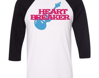 Heart Breaker Baseball Raglan, Guitar, Custom Valentines Day Gift, Gift for Him, Youth Valentines Day Shirt, Heart, Valentines