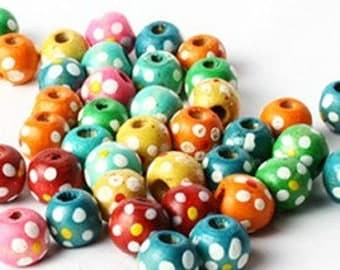 Wooden beads multicolor with white dots Ø 7 mm round