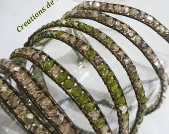 Green Olivine and Crystal Gold Cuff Bracelet