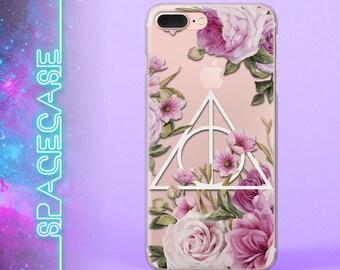 Harry Potter Transparent Clear Phone Case Deathly Hallows Sign  Flowers Florals Soft iPhone 6 7 SE 6 Plus 7 Plus 6S 5 5C 5S Galaxy S8 S7
