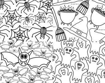 Fall Coloring Pages Halloween Printable Kids