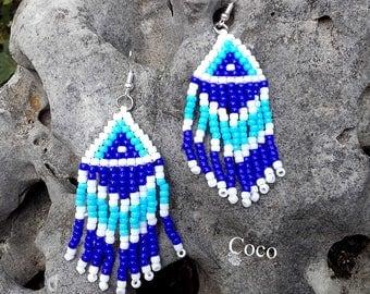 Earrings woven with fringe