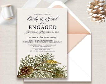 Engagement Invitation Forest Pine Invitation Fall Rustic Invitation Printable Template Engagement Party Invitation Green Botanical Invite