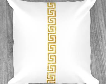 Gold Greek Key Pattern - Throw Pillows