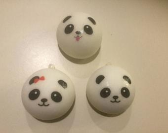 Panda Squishies 3 with keychains