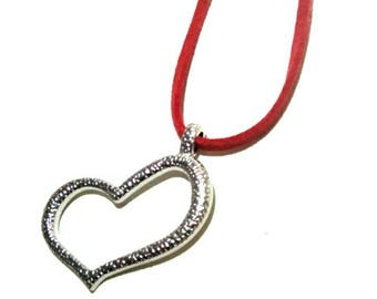 Suede Necklace with a heart charm