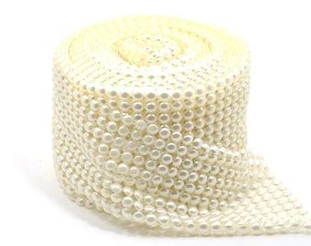 8MM Pearl Mesh Wrap Roll Flat Back Pearl Trimming Ribbon 12 Row
