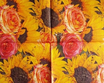TOWEL in paper Roses and sunflowers #F108