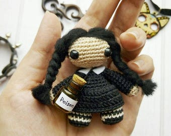 Wednesday Addams amigurumi crochet toy