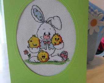 "Custom embroidered Passover card ""with three chicks Easter Bunny"""