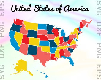 Us Map Clipart Etsy Studio - Us map eps