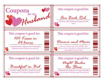 Husband Love Coupons | Printable | Digital | Stocking Stuffer | Valentine's Day | Romance | Anniversary | Gift | Husband