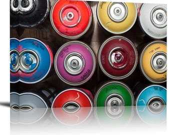 Graffiti Spray Paint Cans Art Print Wall Decor Image - Canvas Stretched Framed