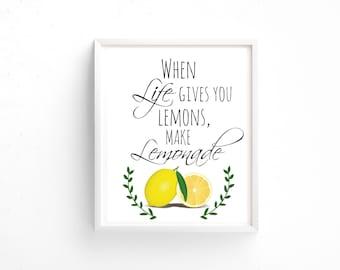 Life Lemon Lemonade Wall Home Decor 8x10