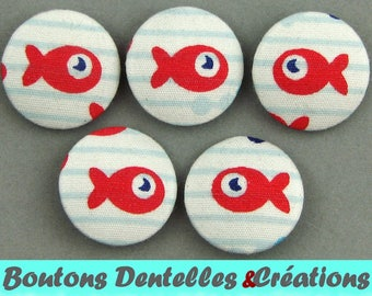 Covered buttons - fish - goldfish - 18mm - (18-02)