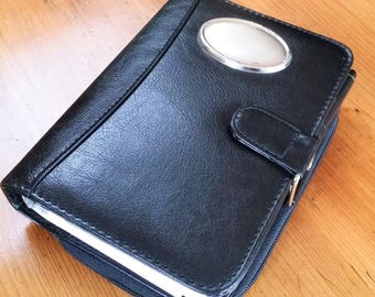 Black leather agenda organiser/planner/filofax with a 925 sterling silver plate
