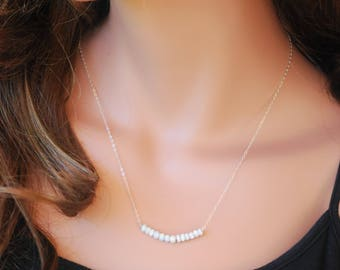 Titanium coated sapphire bar necklace, sterling silver chain