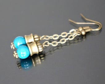 Earrings dangle turquoise color.