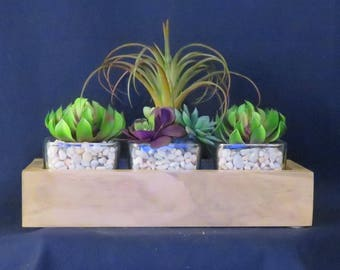 Artificial Succulents in Wood Box
