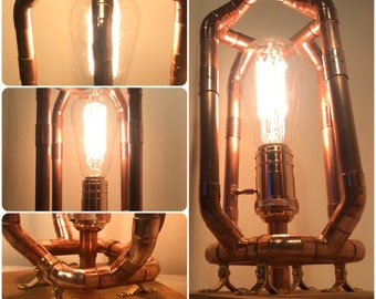 Industrial Copper Pipe Lamp with Reclaimed Wood base, interior home steampunk upcycled