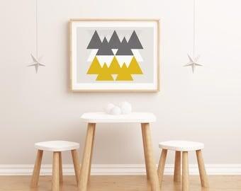 Lamina Montañas en el Desierto, Lamina decorativa, Cuadros modernos, laminas nordicas, Impresión digital. Wall Art. Wall Prints.