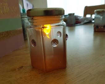 Hand Decorated Glass Light Jar