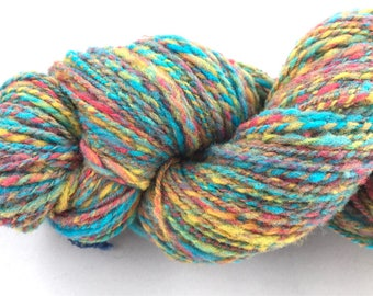 Varigated hand dyed hand spun wool yarn