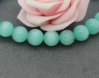 10 round cat eye beads 10 mm Green color PV115