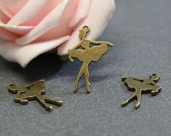 x 10 silhouette ballet dancer BRB58 bronze metal charms
