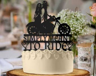 Jack and Sally Motorcycles Simply Meant to Ride Wedding Cake Topper