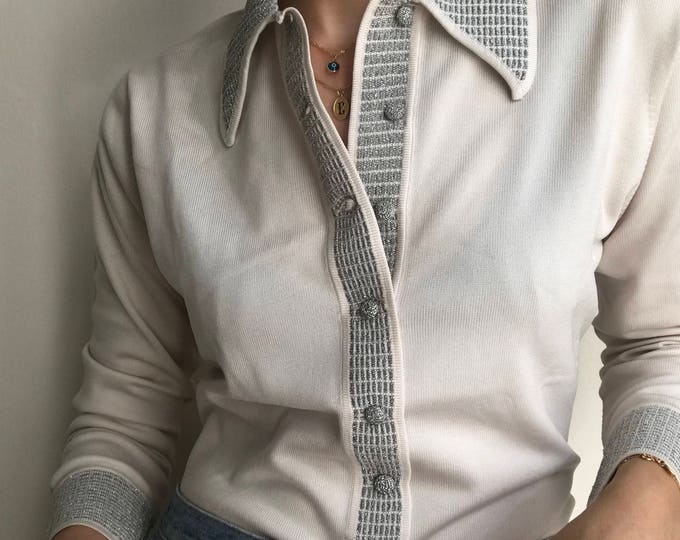 70's Vintage Silver Button Up Knit Top