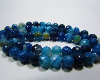 Set of 10 faceted blue agate 6 mm
