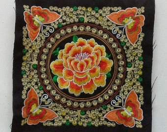 Orange Embroidered Hmong Fabric, Hmong Fabric Hill Tribe, Hmong Hill Tribe Embroidered, Thai Hill Tribe, Hmong Textile, Hill Tribe Handmade.