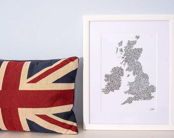 A4 Print - Peculiarities of the British Isles calligraphy print