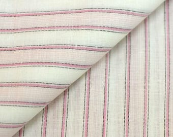 Woven linen and cotton coupon * 45 x 50 cm * pink stripes on white background