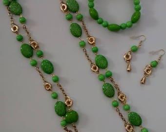Boho cabachon rope 2-string necklace. Stretch bracelet. Dangle earrings.