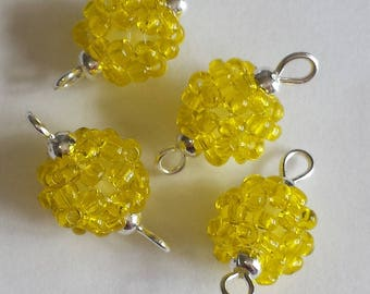 4 beads seed connectors (2.5 mm) transparent yellow