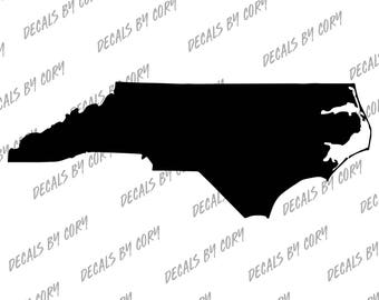 North Carolina State US Solid Outline Car Decal Charlotte Raleigh Greensboro Durham