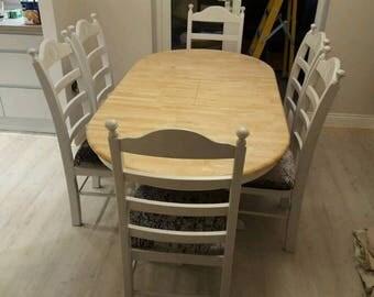 Stunning Bespoke Oval Extending Shabby Chic Dinning Set