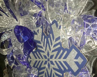 Blue & Silver Snowflake mesh, ribbon wreath