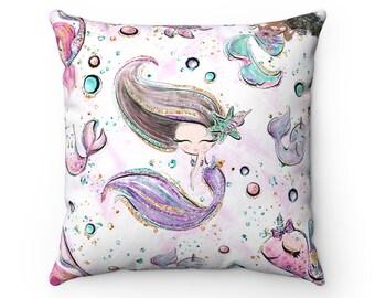 Mermaid Cushion, Cushion, Mermaid, Mermaid Pillow, Pillow, Cushion Cover, Christmas Gift, Mermaid Decor, Mermaid Gift, Decorative Pillow.