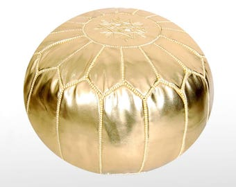Moroccan Leather Pouf  Ottoman Footstool (Faux Leather) Genuine Hand-Stitched Seating   Living Room, Bedroom, Sitting Area   Gold  