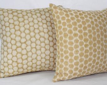"18 x 18"" Gold Honeycomb Mid Century Modern Pillow Cover - Designer Fabric- Accent Pillow - Designer Throw Pillow"
