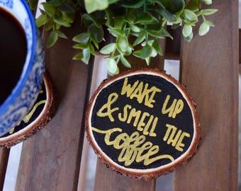 Wood Slice Coffee Coasters | Hand Painted | Set of 2